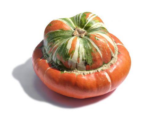 pumpkin turban squash white background