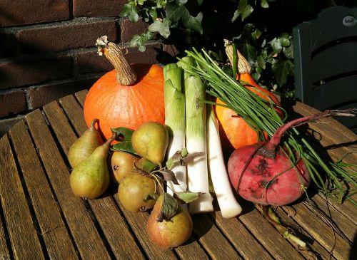 pumpkin pears leek