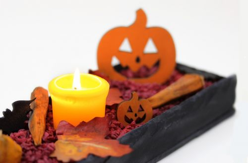 pumpkin candle leaves
