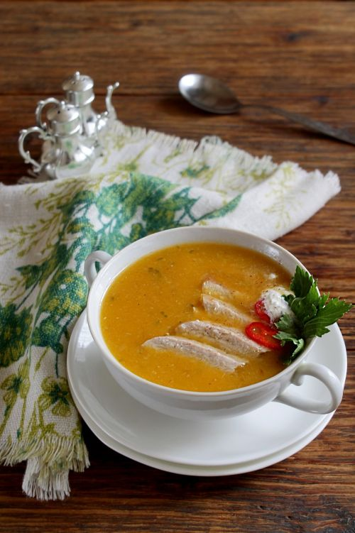 pumpkin soup in meat broth