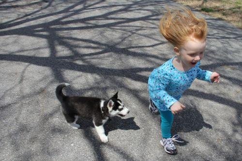 puppy child run