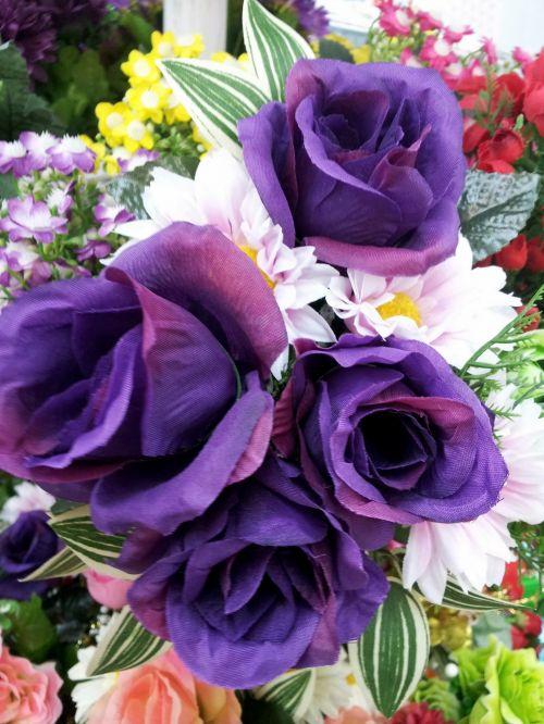 Purple Fake Rose Flower In Blossom