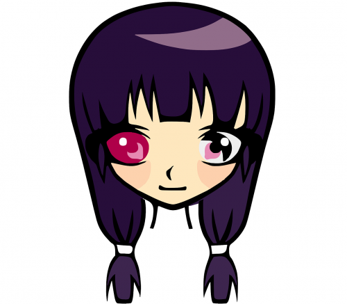 purple hair girl young