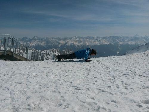 pushups skiers ski area