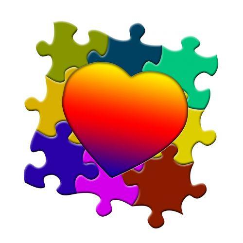 puzzle heart love