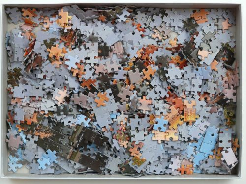 puzzle unfinished cardboard