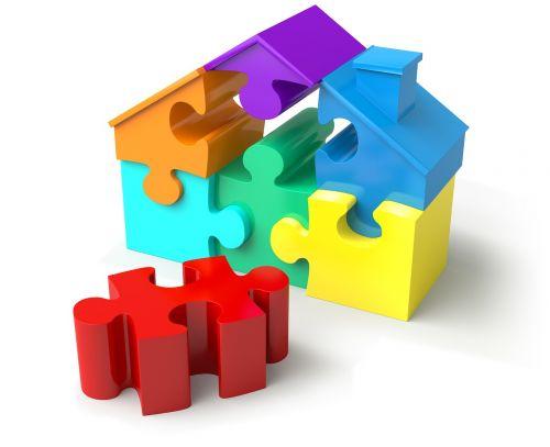 puzzle pieces house shape real estate