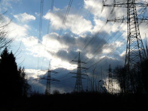 pylons power poles electricity