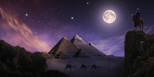 pyramids  gizeh  night