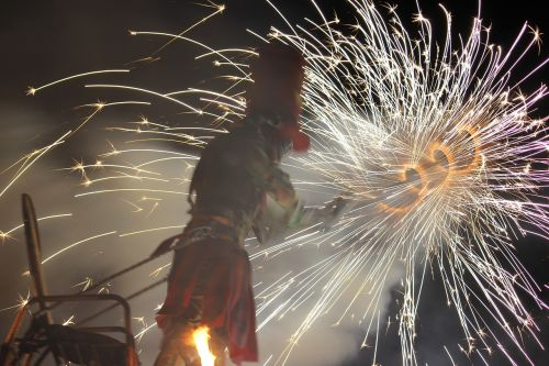 pyrotechnics show sparks