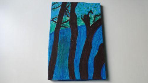 medis, dažymas, rėmas, dažyti medžius
