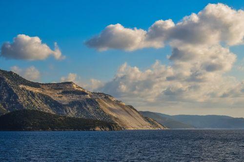 karjeras,dangus,debesys,jūra,panoraminis,kraštovaizdis,kelionė,Pelio,Graikija