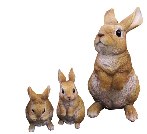 rabbit statues cut