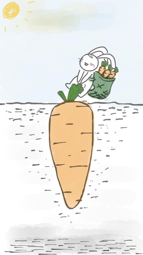 rabbit pulling carrot rabbit carrot