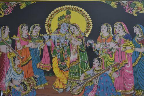 radha krishna painting traditional