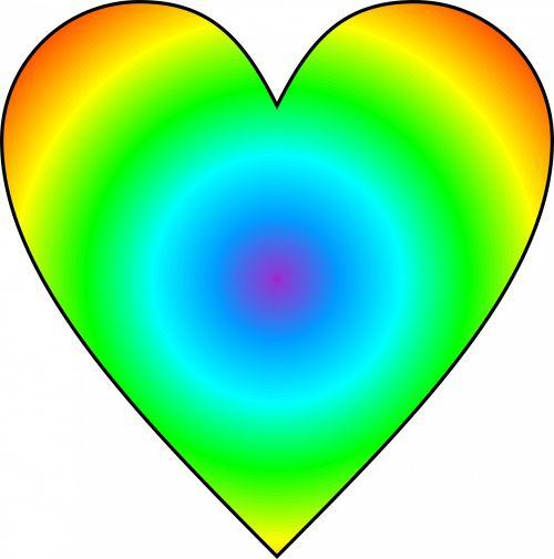 Radial Rainbow Heart