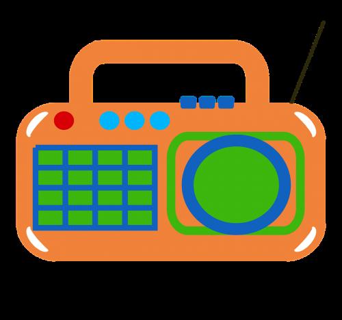 radio retro orange