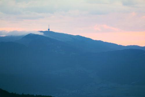 radio tower mountains morning