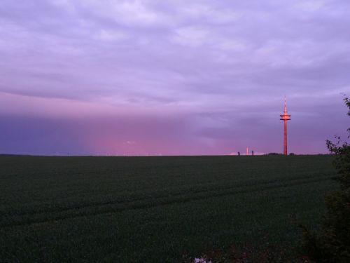 radio tower tower sunset