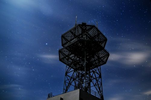radio tower star night sky