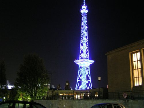 radio tower berlin night