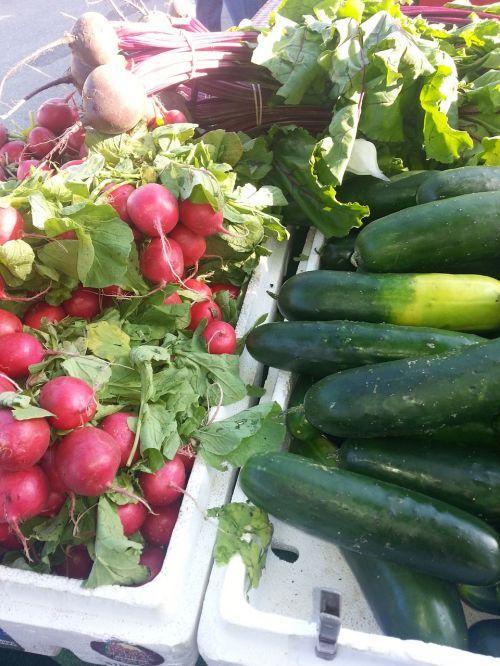 radish green market cucumbers