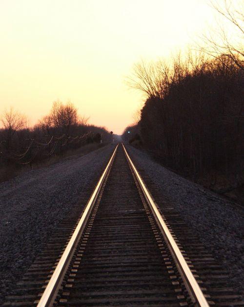 rail road tracks sunset railway