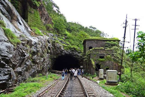 rail track railroad tunnel