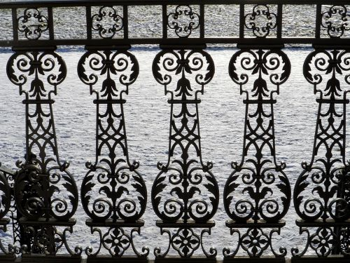 railing wrought iron snow