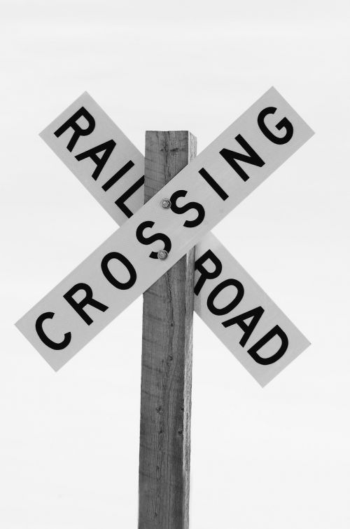 railroad crossing sign black and white