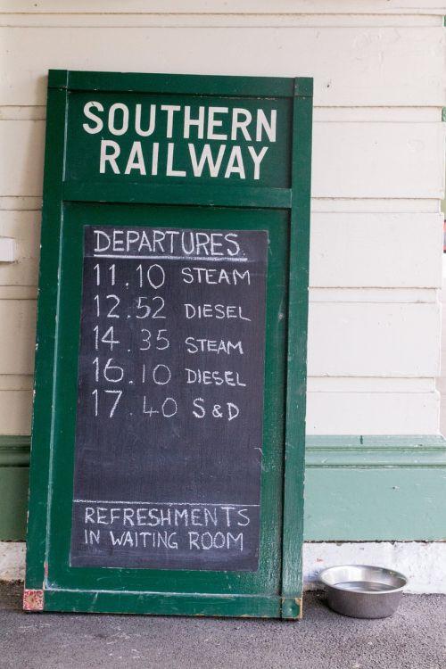 railway chalkboard timetable
