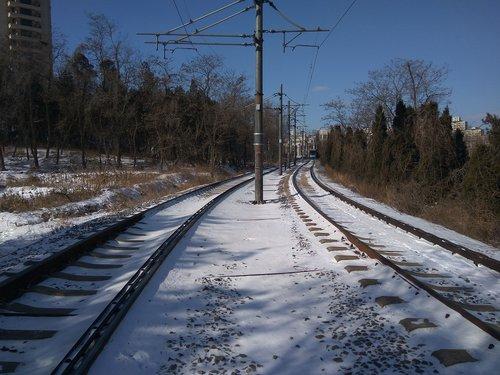 railway  snow  telephone poles