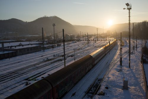 railway sunset winter