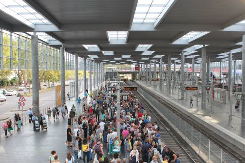 railway station group of people platform