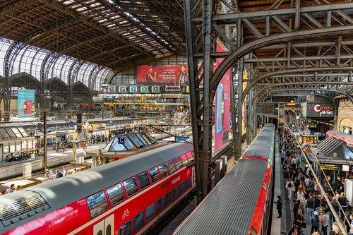 railway station  hamburg  trains