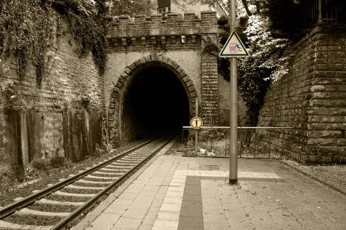 railway station train tunnel
