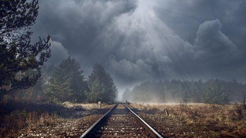 railway tracks  gloomy  track