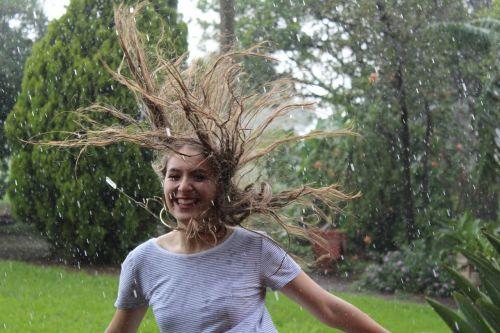 rain women happy
