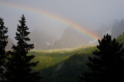 rainbow chamonix alps