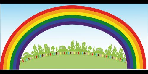 rainbow people happiness