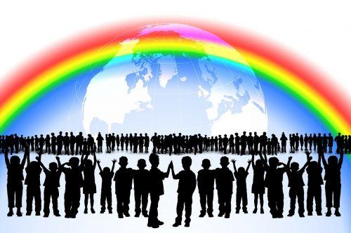 vaivorykštė,vaikai,žaisti,daug,Draugystė,visame pasaulyje,ryšys,bendruomenė,žmogus,siluetas,žemė,gaublys,pasaulis,kartu,kolektyvas,tinklas,globalizacija,visuotinis,pasaulio žvilgsnis,žemynai,tarptautinis,susitikimas,draugai