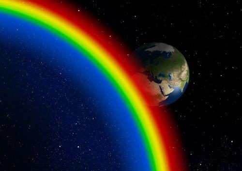 rainbow art world space