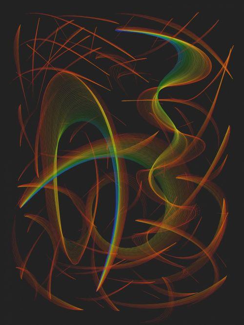 tapetai, vaivorykštė, chaosas, linijos, vualiai, izoliuotas, juoda, fonas, vaivorykštės chaosas