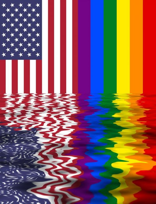 rainbow flag usa and lgbt two flags together