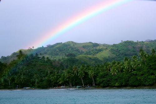 vaivorykštė & nbsp, dangus, vaivorykštė, dangus, gamta, medžiai, žalias & nbsp, gamta, kalnas, fonas, kraštovaizdis, kitas, vaivorykštė danguje