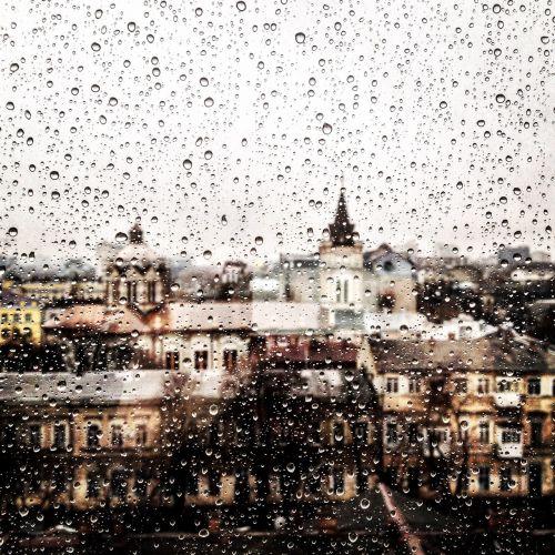 rainy day cityscape window