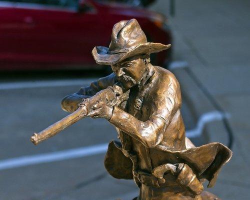 ranger closing in  texas ranger  sculpture