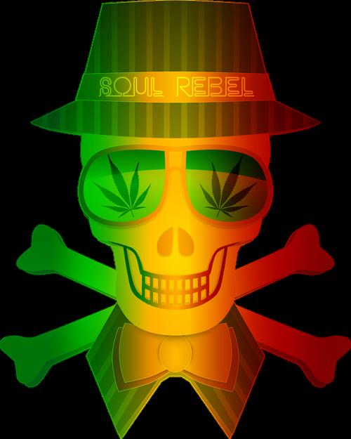 rasta  weed  skull