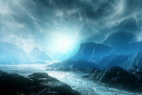 užsienietis, svajingas, domenas, mėlynas, kalnas, poveikis, šviesa, svajonių sfera
