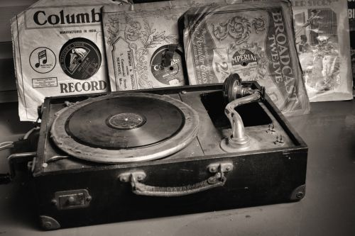 record player records old